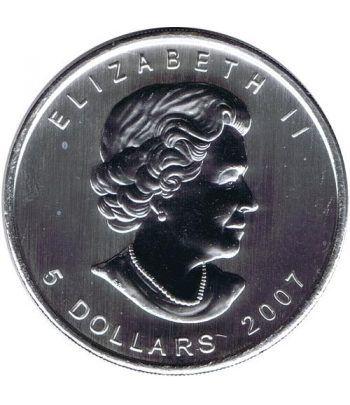 Moneda onza de plata 5$ Canada Hoja de Arce 2007 Marrón  - 4