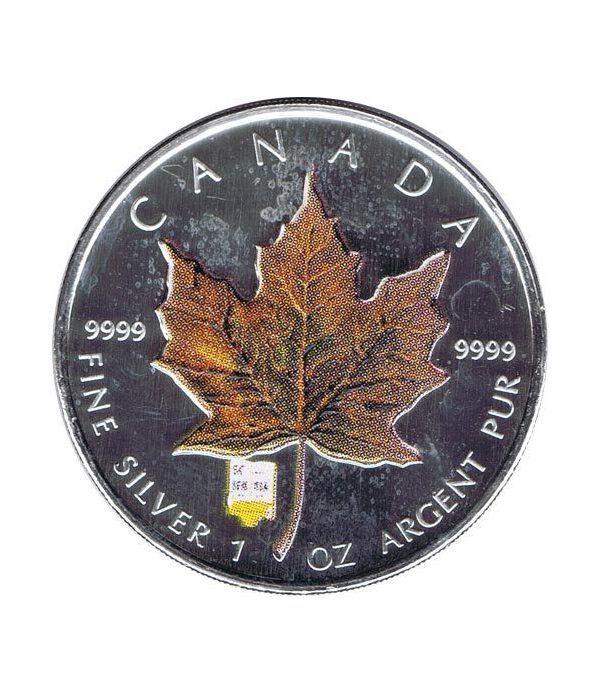 Moneda onza de plata 5$ Canada Hoja de Arce 2007 Marrón  - 1