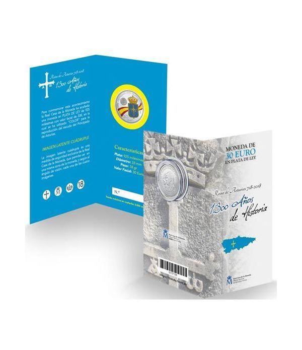 Cartera oficial euroset 30 Euros 2018 Reino de Asturias. Color.  - 1
