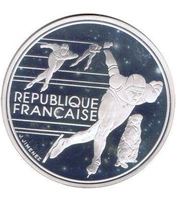 Moneda de plata 100 Francos Francia 1991 Albertville'92 Patinaje  - 1