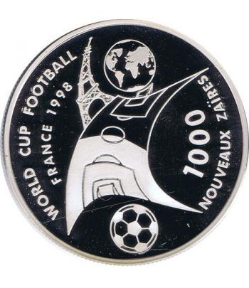 Moneda de plata 1000 Nuevos Zaires Zaire 1997. Mundial 98  - 1