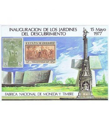 1977 Inauguración Jardines Descubrimiento. Hojita recuerdo.  - 1