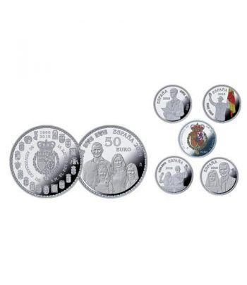 Monedas 2018 50 Aniversario Felipe VI. 5 monedas. Plata.  - 2