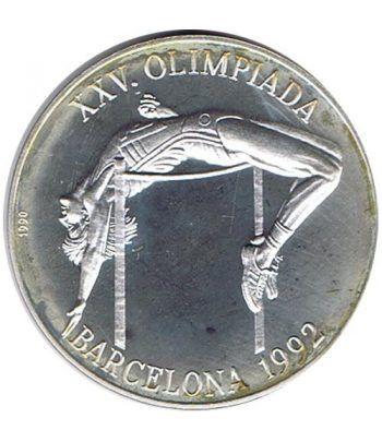 Moneda de plata 10 pesos Cuba 1990. Barcelona 1992 Salto.  - 1