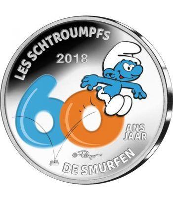 moneda Belgica 5 Euros 2018 Los Pitufos color. Estuche.  - 1