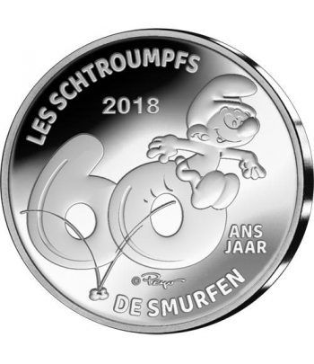 moneda Belgica 5 Euros 2018 Los Pitufos. Estuche.  - 1