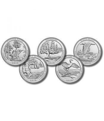 E.E.U.U. 1/4$ 2018 Parques Nacionales (5 monedas) ceca D.  - 2