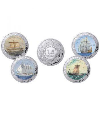 Monedas 2018 Historia de la Navegación I. 4 monedas con estuche  - 1