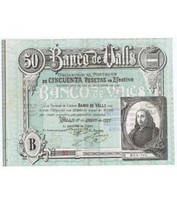 Banco de Valls 50 pesetas 1922. Serie B 37.  - 1