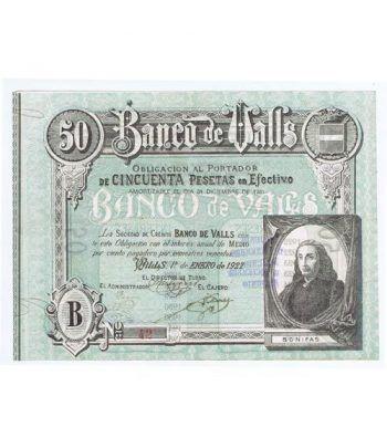 Banco de Valls 50 pesetas 1922. Serie B 42.  - 1