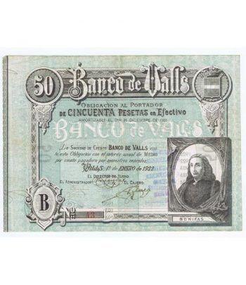 Banco de Valls 50 pesetas 1922. Serie B 43  - 1