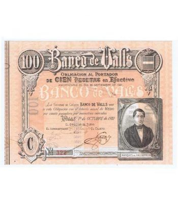 Banco de Valls 100 pesetas 1921. Serie C 322  - 1