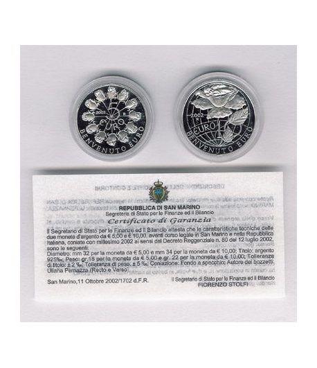 San Marino (5 - 10 Euros) plata 2002 Bienvenido Euro  - 2