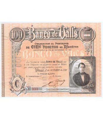 Banco de Valls 100 pesetas 1921. Serie C 333  - 1