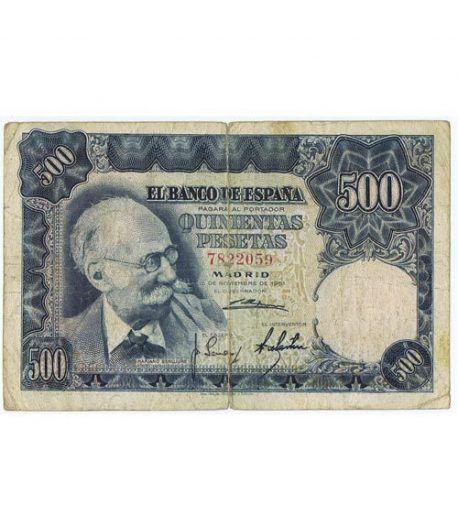 (1951/11/15) Madrid. 500 Pesetas. MBC-. Sin Serie 7822059  - 1