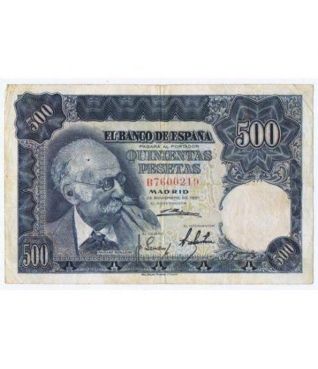(1951/11/15) Madrid. 500 Pesetas. MBC. Serie B7600219  - 1