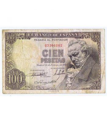 (1946/02/19) Madrid. 100 Pesetas. MBC-. Sin Serie 003366002  - 1