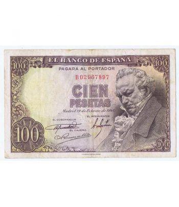 (1946/02/19) Madrid. 100 Pesetas. MBC-. Serie B02967897  - 1