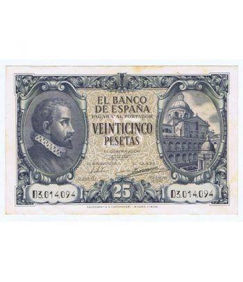 (1940/01/09) Madrid. 25 Pesetas. EBC- Serie D3014094 Manchas  - 1