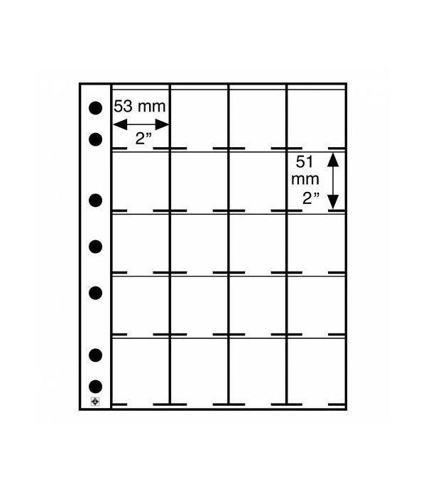 LEUCHTTURM hojas GRANDE para 20 cartones monedas 50x50 mm. Cartones Monedas - 1