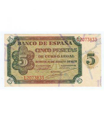 (1938/08/10) Burgos. 5 Pesetas. SC. Serie L2073833  - 2