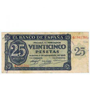 (1936/11/21) Burgos. 25 Pesetas. MBC. Serie Q1941366  - 2