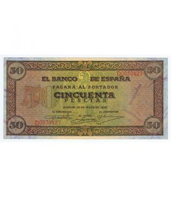 (1938/05/20) Burgos. 50 Pesetas. EBC+. Serie D0030427  - 1