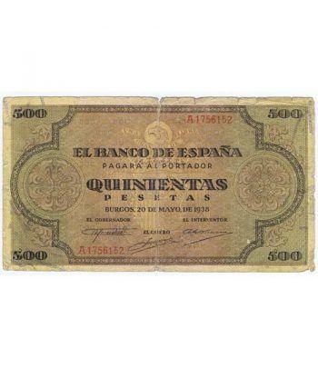 (1938/05/20) Burgos. 500 Pesetas. MBC-. Serie A1756152  - 2