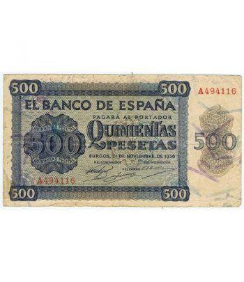(1936/11/21) Burgos. 500 Pesetas. MBC. Serie A494116  - 2