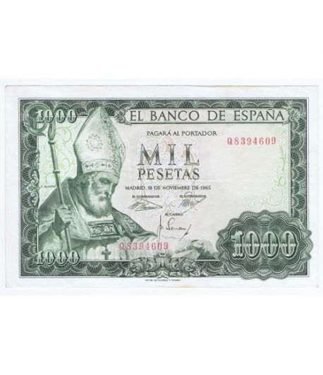 (1965/11/19) Madrid. 1000 Pesetas. MBC-. Serie Q8394609 Error  - 1
