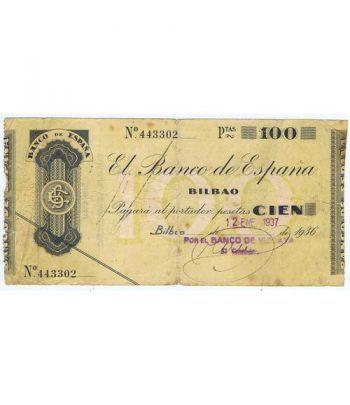 (1936) BILBAO. 100 Pesetas. MBC. Serie 443302  - 1