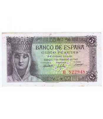(1943/02/13) Madrid. 5 Pesetas. EBC+. Serie B822948  - 2