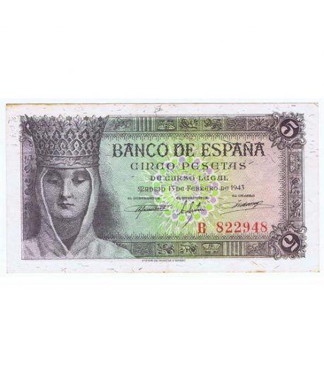 (1943/02/13) Madrid. 5 Pesetas. EBC+. Serie B822948  - 1