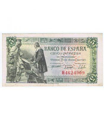 (1945/06/15) Madrid. 5 Pesetas. EBC. Serie H4624909  - 1