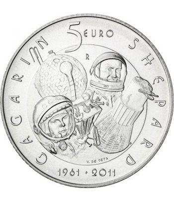 San Marino 5 Euros 2011 50 años Hombre al Espacio. Plata  - 1