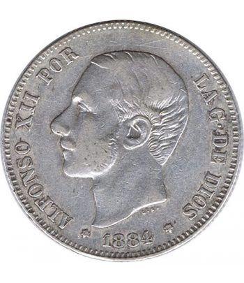 2 Pesetas Plata 1884 *84 Alfonso XII MS M.  - 1