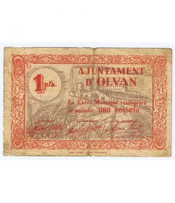 (1937) 1 Pesseta Ajuntament d' Olvan.  - 4