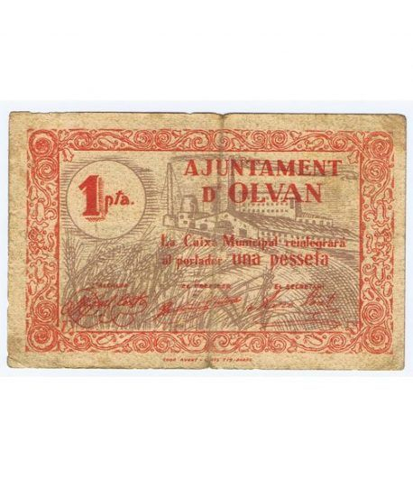 (1937) 1 Pesseta Ajuntament d' Olvan.  - 1