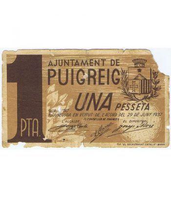 (1937/06/29) 1 Pesseta Ajuntament de Puigreig.  - 1