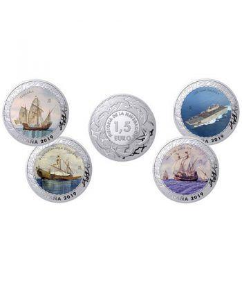 Monedas 2019 Historia de la Navegación III. 4 monedas.  - 1