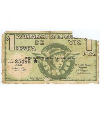 (1937/06/07) 1 Pesseta Ajuntament de la Ciutat de Vic.  - 1