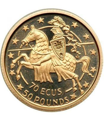 Moneda de oro 70 Ecus 50 Pounds Gibraltar 1991.  - 1