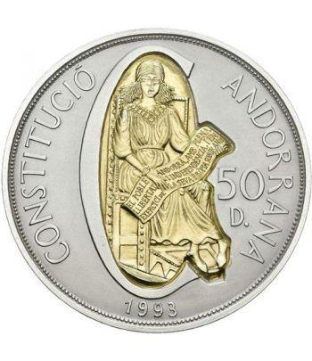 Moneda de plata y oro 50 Diners Andorra 1993 Constitució.  - 1