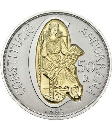 50 Diners de plata y oro Andorra 1993 Constitució.  - 1