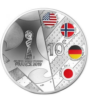 Francia 10€ 2019 FIFA Futbol Femenino. Delantera. Plata.  - 2