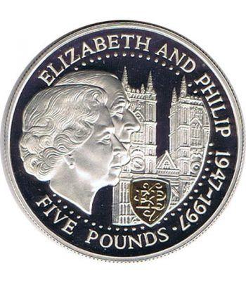 Moneda de plata 5 Pounds Elizabeth y Philip Guernsey 1997  - 1