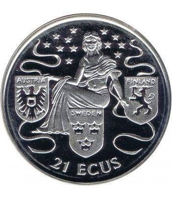 Moneda de plata 21 ecus Gibraltar 1995. Estuche  - 1