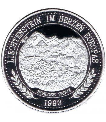 Moneda de plata 20 Ecu Liechtenstein Escudo color. Piedfort.  - 2