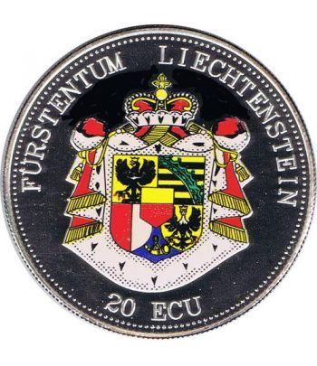 Moneda de plata 20 Ecu Liechtenstein Escudo color. Piedfort.  - 1