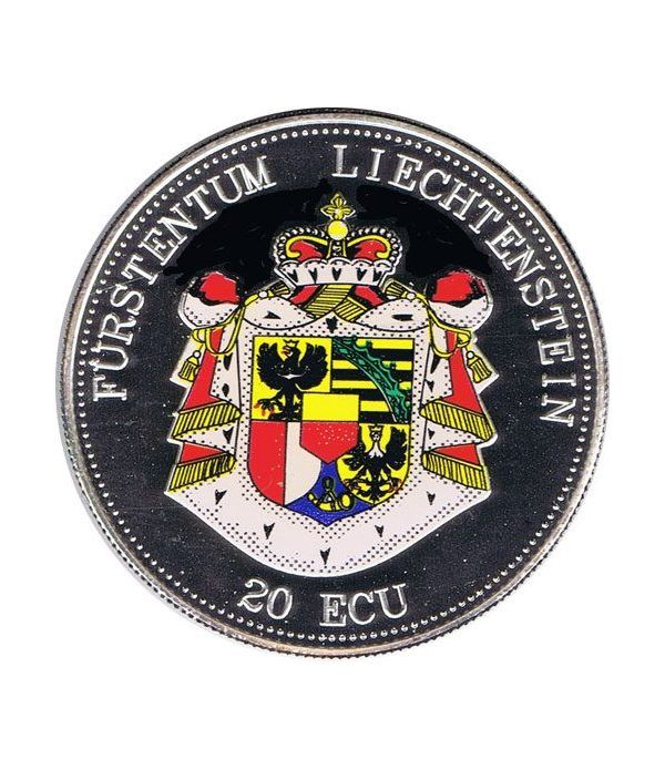 Moneda de plata 20 Ecu Liechtenstein Escudo color. Piedfort.  - 1